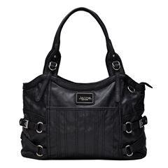 Bolsa Shopping para dama, Color Negro. Marca Jacob NY,. Doble asa. Cierre interior y portacelular. 100% Policloruro de vinilo.