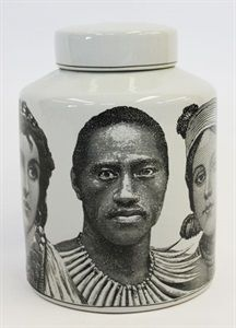 Orson & Blake... Canister ceramic with African faces 25x30