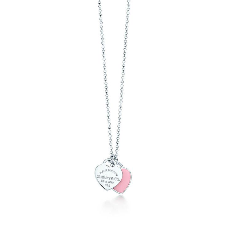 Return to Tiffany™ mini double heart tag pendant in silver with enamel finish. | Tiffany & Co.