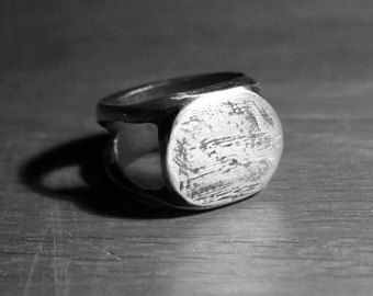 Mens Signet Ring / Chunky Silver Ring / Solid Mens Ring