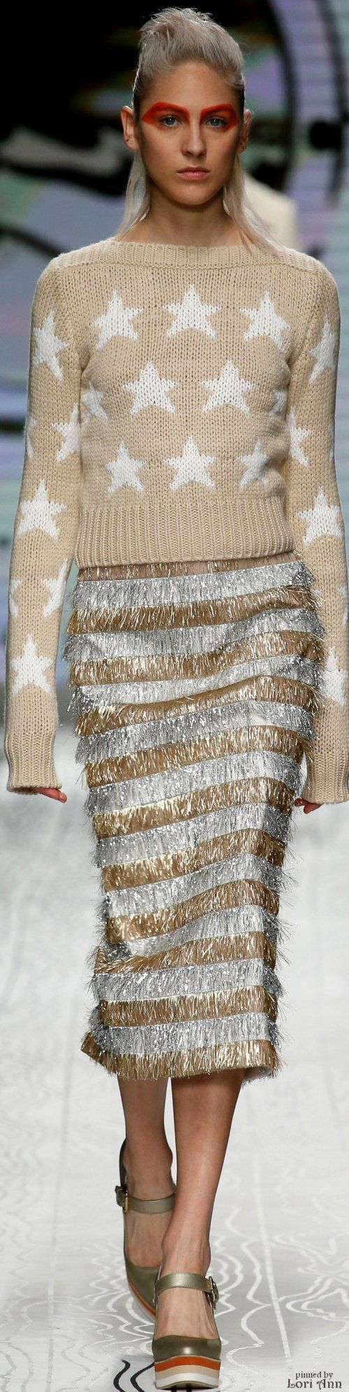 ➳♔Max Mara Spring 2016 RTW women fashion outfit - silver and gold - stars sweater clothing style apparel @roressclothes