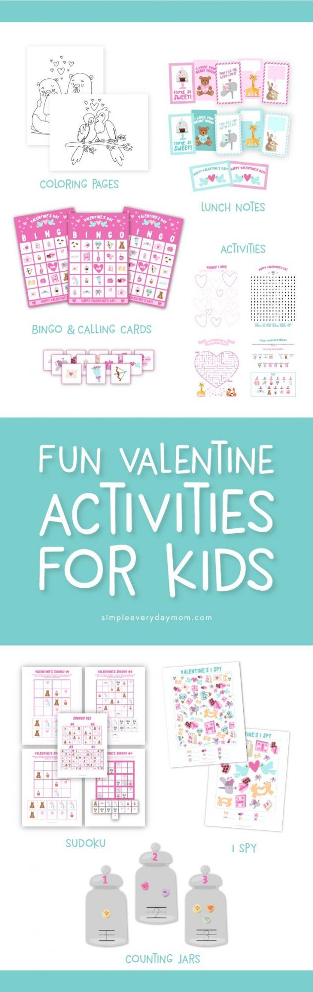 Your kids will love celebrating valentine's day even more with these printable activities that include Valentine's bingo, sudoku, i spy, secret messages, word search, a maze, coloring pages, lunch notes and more! #valentinesday #valentinesforkids #activitiesforkids #printables