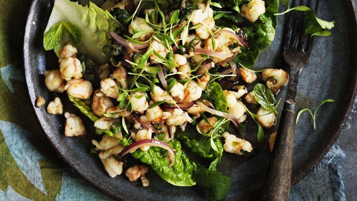 Warm spicy prawn salad.