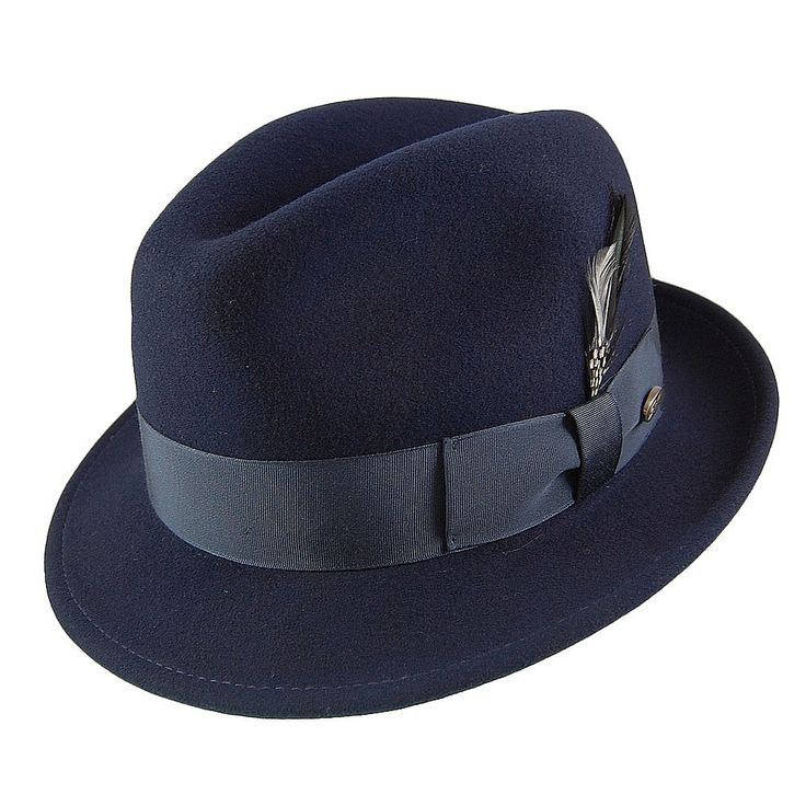Bailey Hats Tino Crushable Trilby Hat - Navy