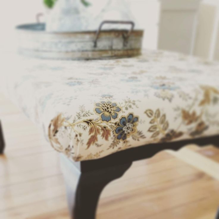 Ottoman created from a coffee table, painted and upholstered.  https://www.facebook.com/refaitfurniture2015/