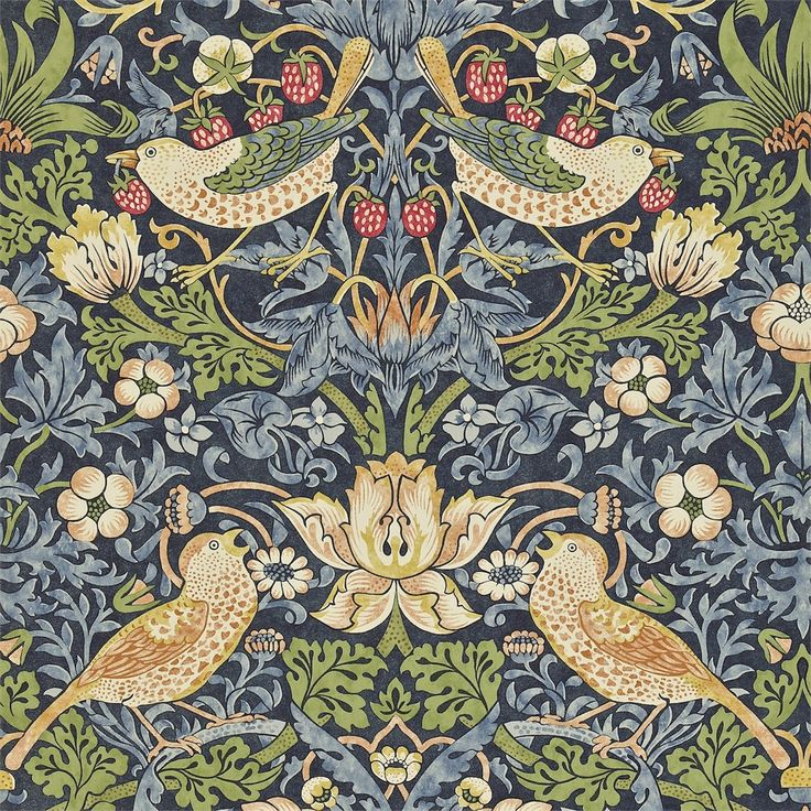 The Original Morris & Co - Arts and crafts, fabrics and wallpaper designs by William Morris & Company | Products | British/UK Fabrics and Wallpapers | Strawberry Thief (DARW212564) | Archive II Wallpapers