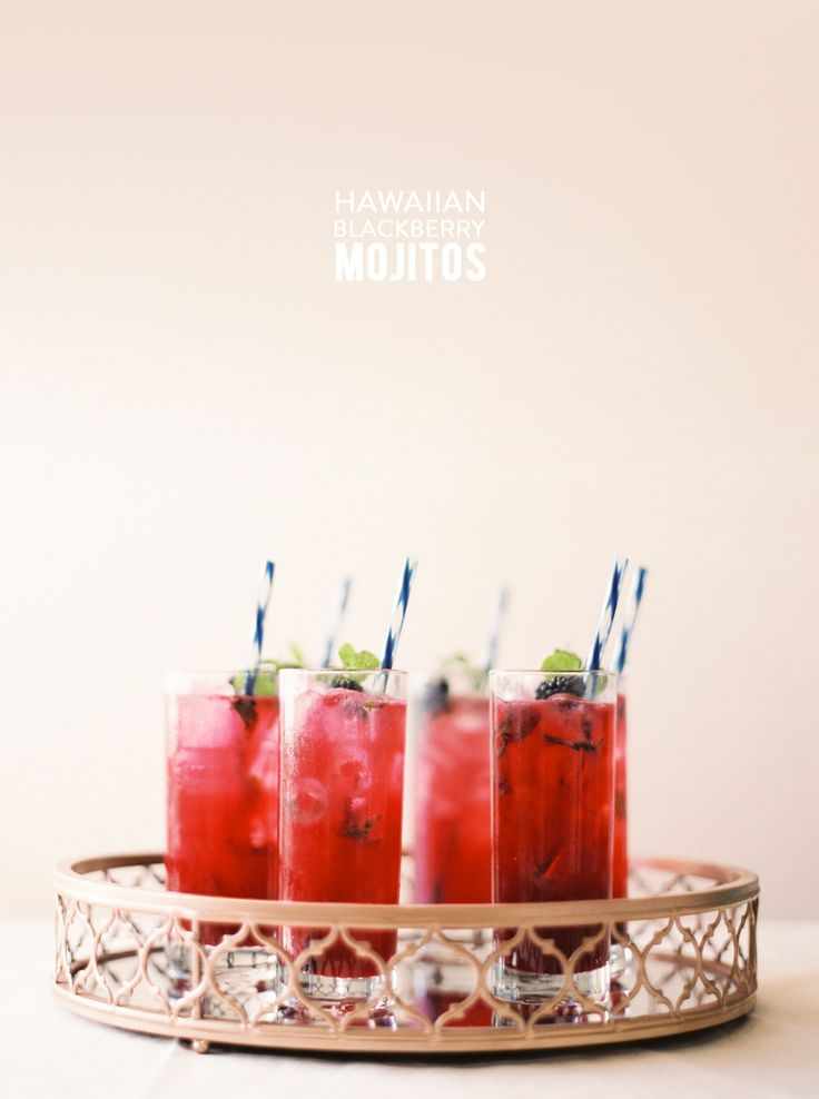 Hawaiian Blackberry Mojitos | Read More: http://www.stylemepretty.com/living/2014/08/07/hawaiian-blackberry-mojitos/