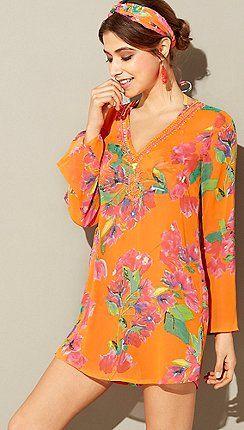 7c560ae4b9 MW by Matthew Williamson - Orange floral print embellished V-neck long  sleeve kaftan dress
