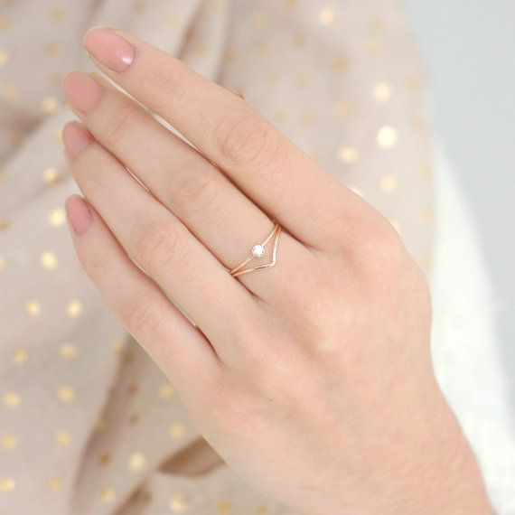 Our dainty, delicate gold diamond ring makes a statement stacked with a gold filled chevron ring. At a tiny 3mm, the gemstone is perfectly