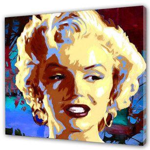 """#Marilyn #Monroe Tavla i #Pop Art stil. Tuff färgkombination av #blå och #lila bakgrund med Marilyns #blonda hår och röda #läppar. """"If you can make a #girl #laugh, you can make her do anything"""" - Marilyn Monroe"""