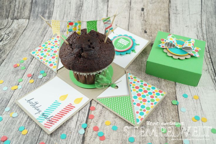 Stampin´ Up!_Explosionsbox_Build a Birthday_Geburtstagskracher_Flüsterweiß_Melonensorbet_Gartengrün_Bermudablau_Savanne_Curry Gelb_Washi Tape_Motivklebeband Bunte Party_Designerpapier im Block Bunte Party_Elementstanze Schleife_2