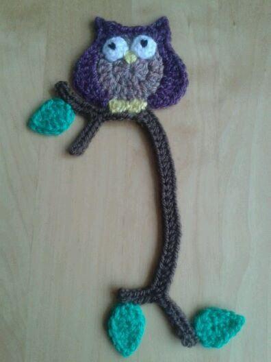 Marca páginas búho con patrón gratis   -   Owl bookmark free crochet pattern