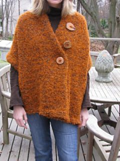 Easy 3 button shawl by Sharon Watterson. Free pattern. Can be worked with one strand or two. (approximately 620 yd ea).