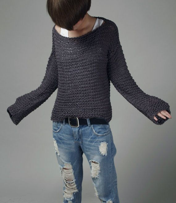 Simple is the best Hand knit sweater Eco cotton oversized in