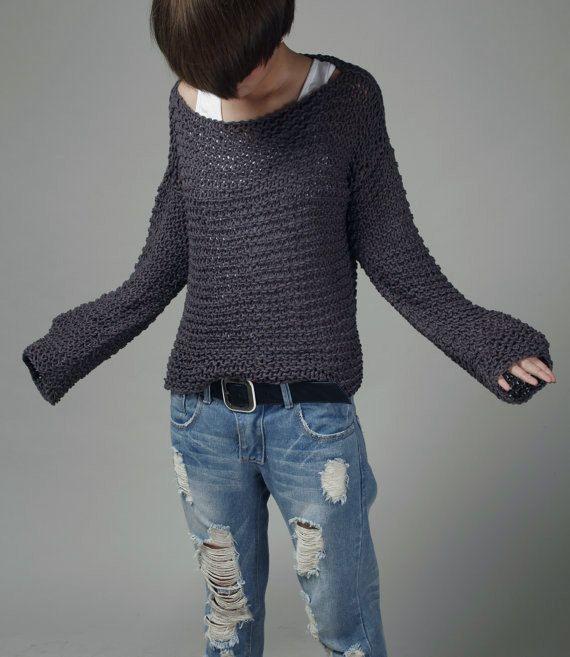Simple es lo mejor - tejido a mano algodón Eco de suéter de gran tamaño en color carbón