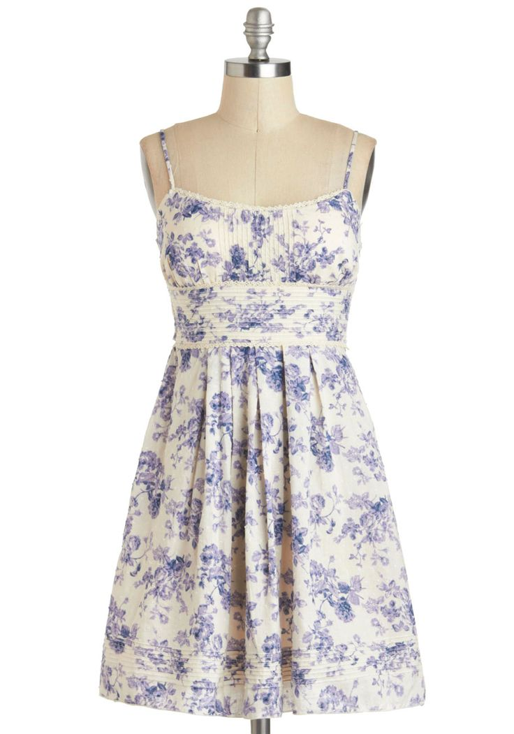 Sundress to Impress - Cotton, Blue, White, Floral, Crochet, Pleats, Casual, A-line, Spaghetti Straps