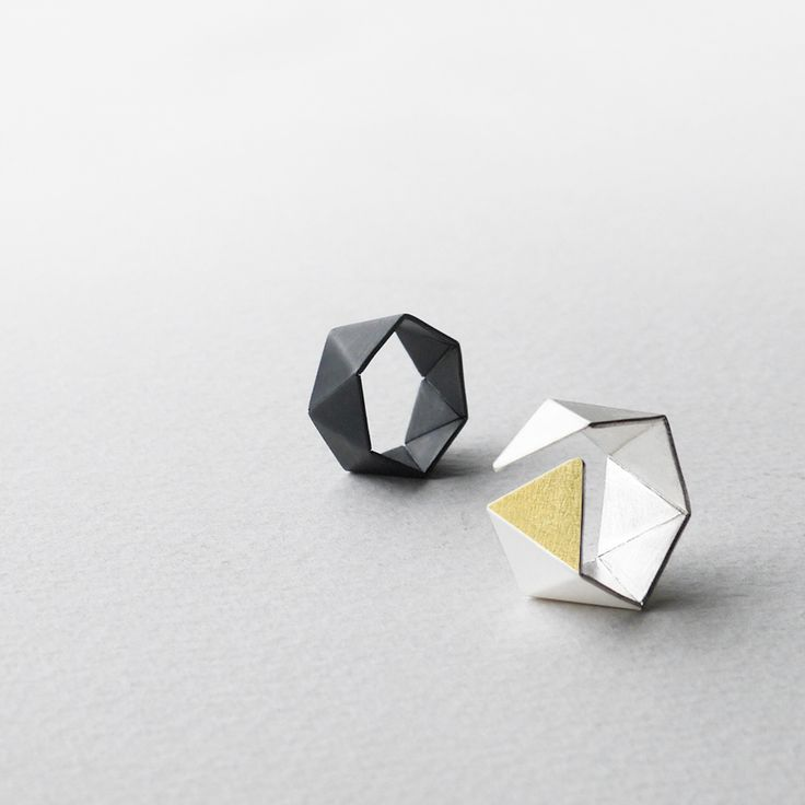RawObjekt - Geometric Sterling Silver Ring with 24k Gold