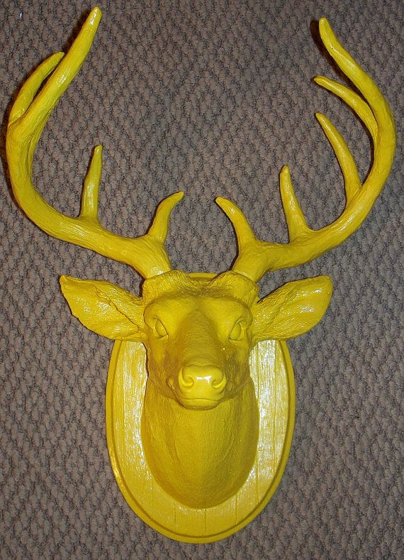 Sunny yellow stag deer head small antlers faux taxidermy for Fake deer antlers for crafts