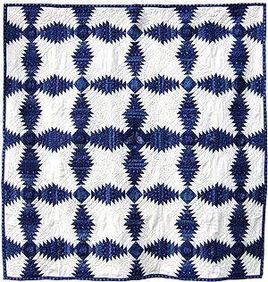pineapple log cabin quilt from kekfesto:  Kekfesto Cotton: Hand-dyed blue print fabrics from Hungary