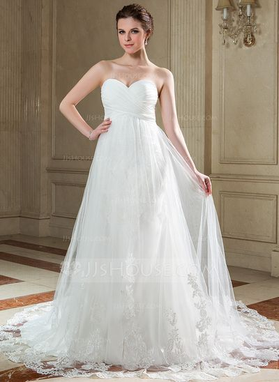 Wedding Dresses - $196.99 - Empire Sweetheart Chapel Train Chiffon Tulle Wedding Dress With Ruffle Appliques Lace (002011724) http://jjshouse.com/Empire-Sweetheart-Chapel-Train-Chiffon-Tulle-Wedding-Dress-With-Ruffle-Appliques-Lace-002011724-g11724