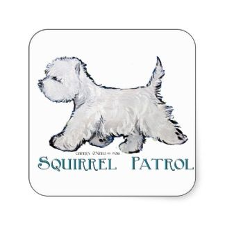 Westie Squirrel Patrol Stickers