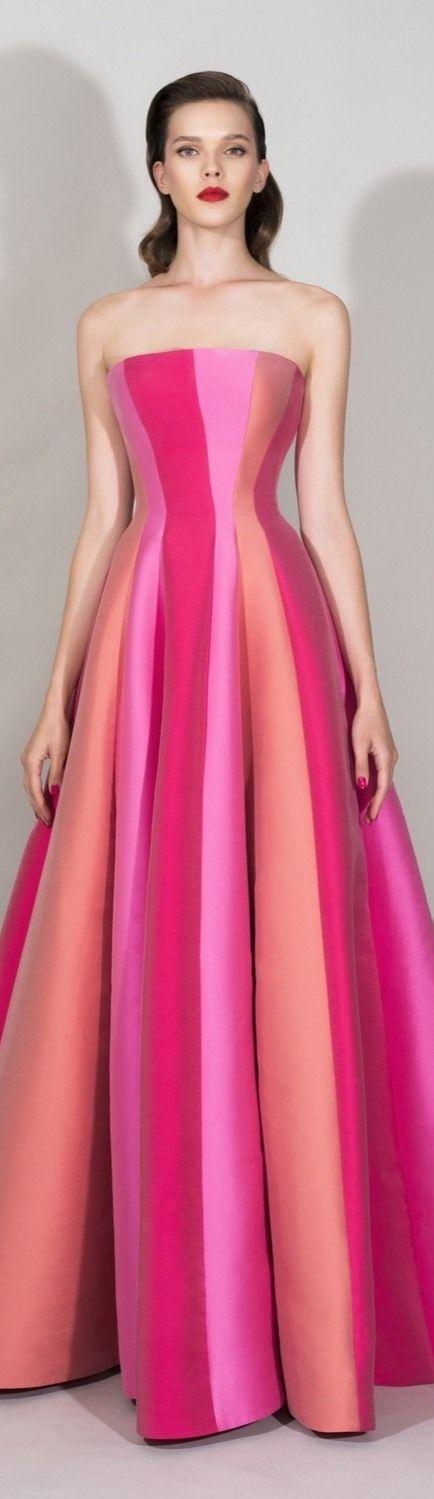 Zuhair Murad ~ Resort Strapless Colorblock Maxi Dress 2016