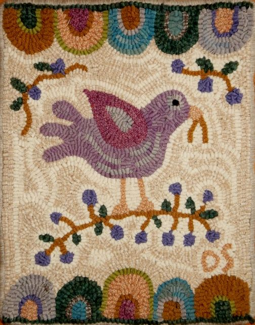 The art of rug hooking with wool fabric in the folk tradition. Rug hooking  wool