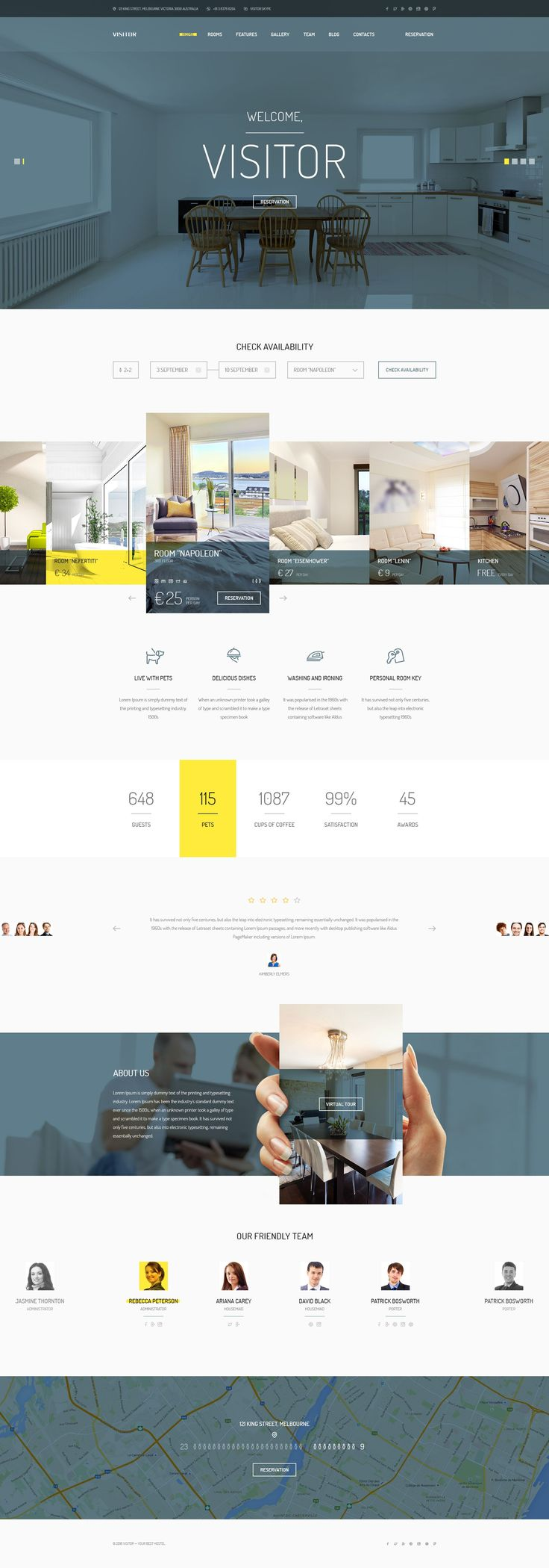 Visitor — modern and professionally crafted PSD theme which can be used for be used for small #hotel, hostel, guest houses, resort, room reservation, #travel or other website. #psdtemplates Download Now➝ http://themeforest.net/item/visitor-online-hostelhotel-booking-psd-template/15285217?ref=Datasata