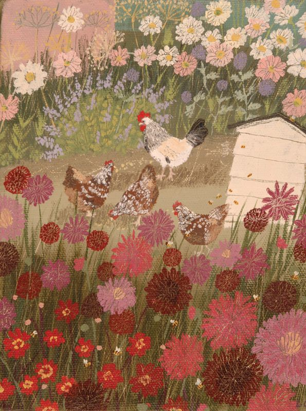 Dahlias and chickens- Lucy Grossmith