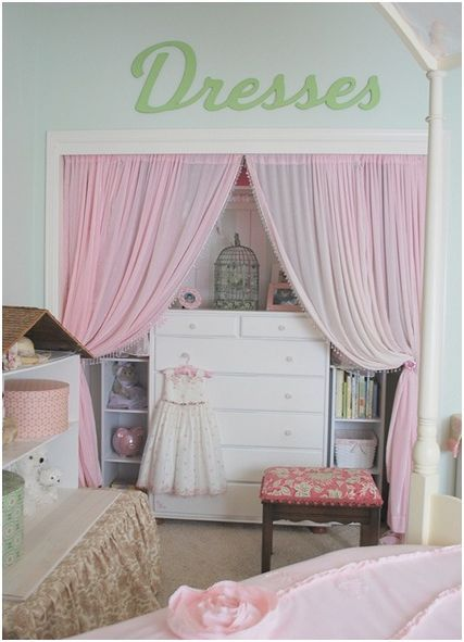 There are so many ways to make over closet doors. You can opt to remove the doors entirely and add curtains: