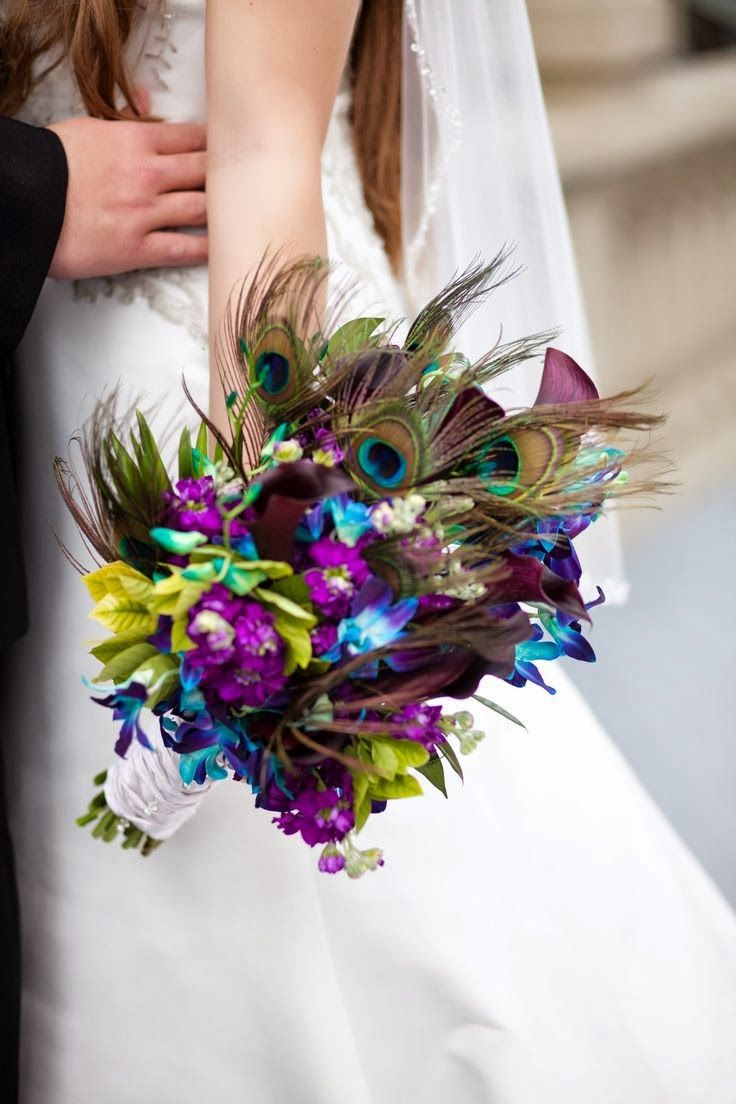 Peacock Wedding Bouquets | http://simpleweddingstuff.blogspot.com/2014/01/peacock-wedding-bouquets.html