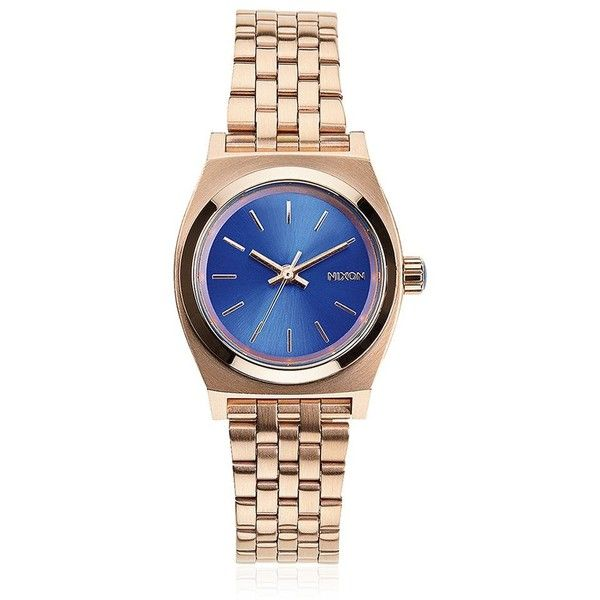 Nixon Women Small Time Teller Rose Gold Finish Watch ($125) ❤ liked on Polyvore featuring jewelry, watches, nixon wrist watch, rose watches, nixon watches, water resistant watches and blue dial watches
