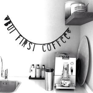 #Wordbanner #tip: But first coffee - Buy it at www.vanmariel.nl - € 11,95