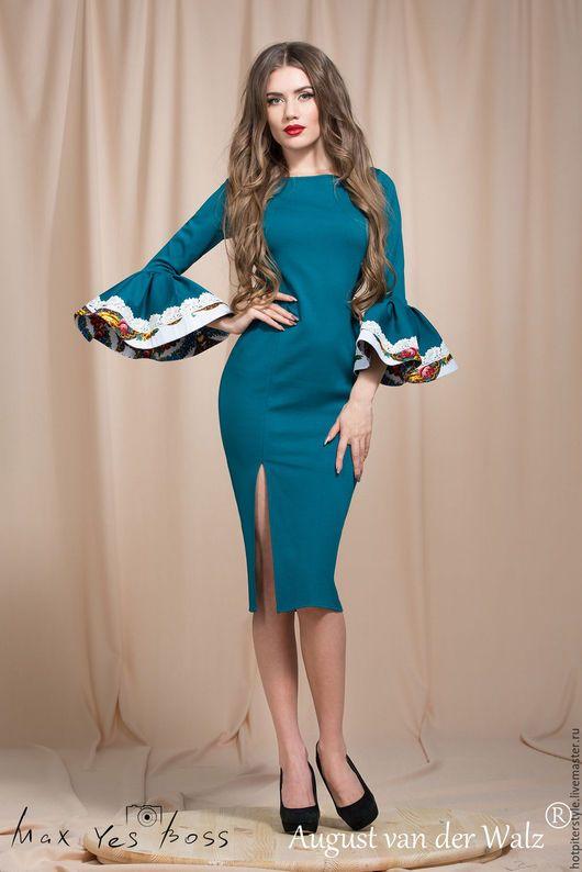 Платье футляр с волшебными рукавами, платье в Русском стиле, платье весну и лето. Весеннее платье футляр. Платье на лето. Ручная работа. Сделано в Петербурге.
