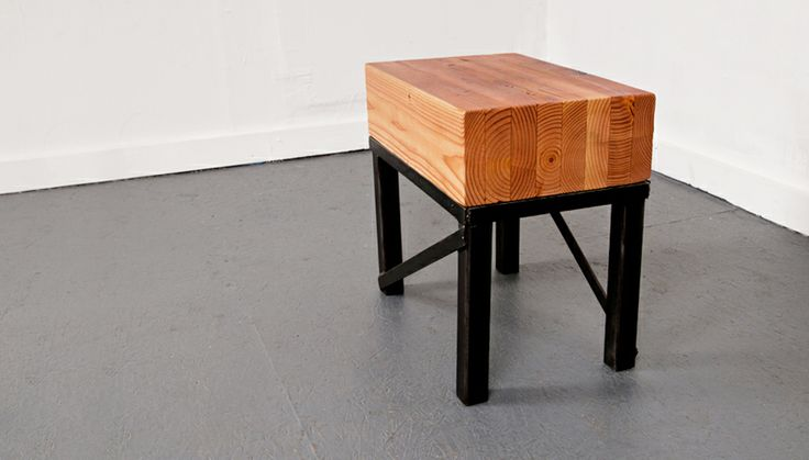 Stool made from an engine stand and glue-lam. Photo by Ariel Nay Nebeker