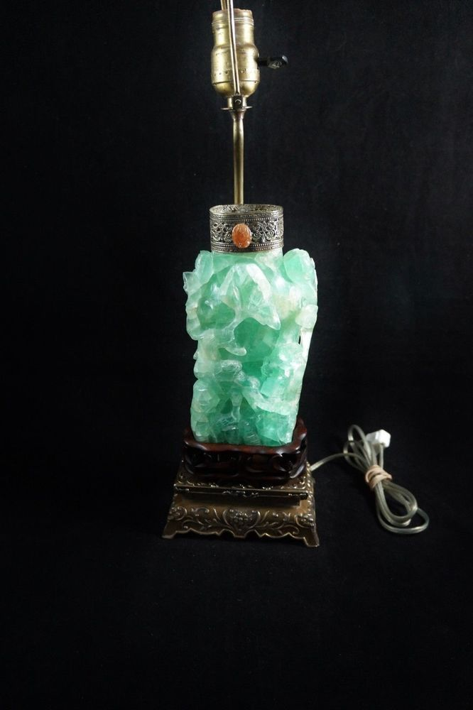 RARE ANTIQUE 19th CENTURY ASIAN CHINESE HAND CARVED GREEN QUARTZ LAMP
