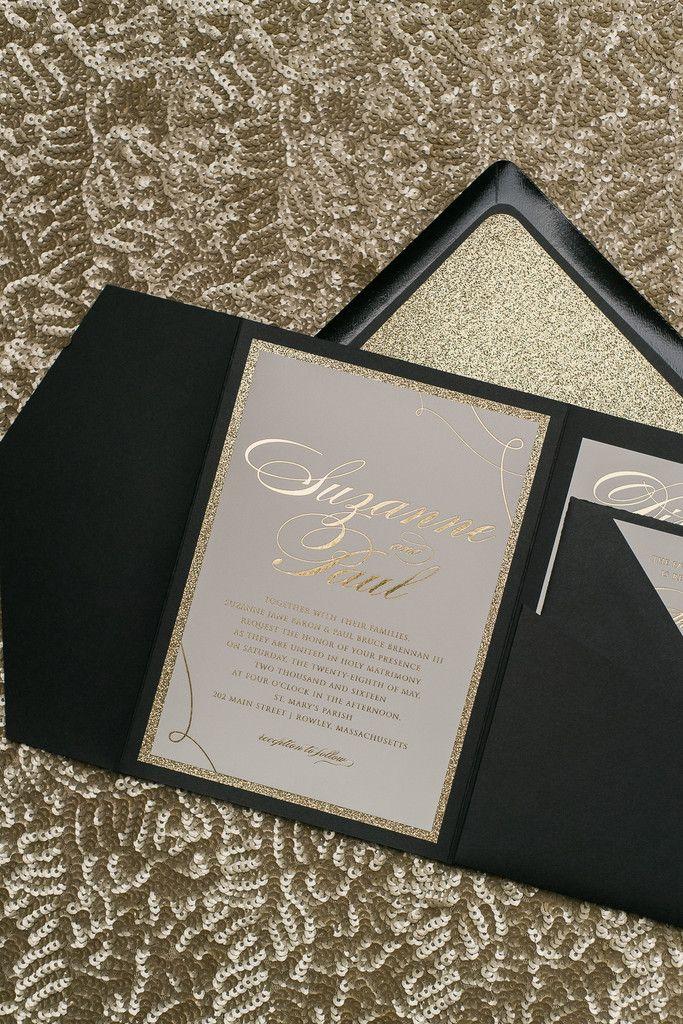 wedding stationery folders%0A LAUREN Suite Glitter Pocket Folder Package  Gold Wedding InvitationsWedding
