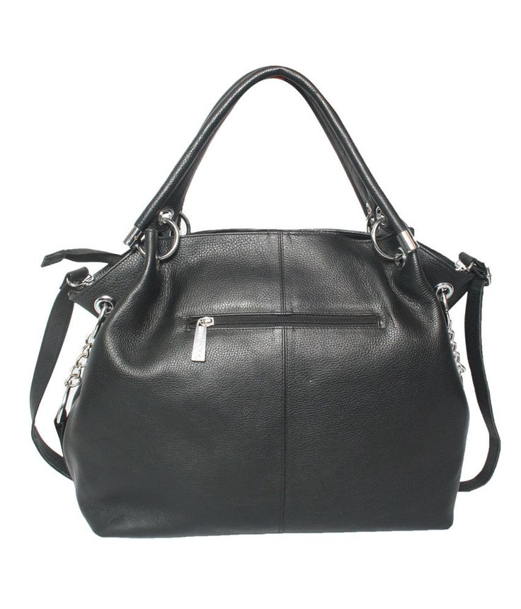 Comfort 15 inch Pure Black Leather Handbags for Women and Girls EL56