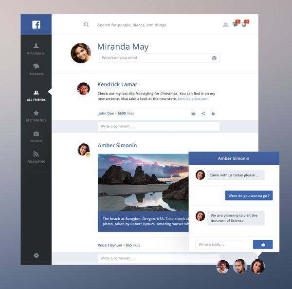 Facebook redesign light on Behance