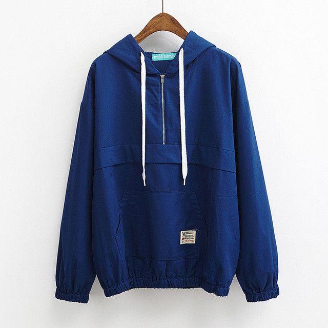 Women's Harajuku Spring Zipper Hooded Loose Lazy Big Windbreaker Jacket Female Cute Japanese Kawaii Bomber Coat  #love #styles #instalike #instafashion #beauty #cute #dress #ootd #fashion #glam