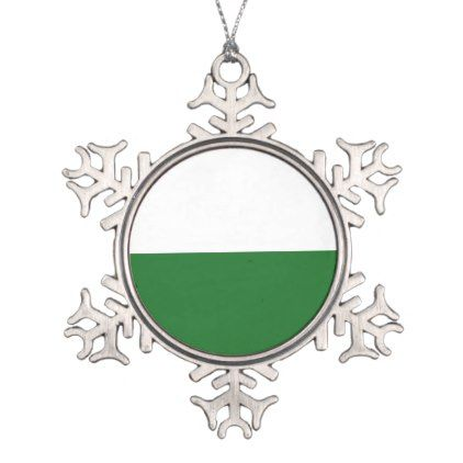 Flag of Saxony Snowflake Pewter Christmas Ornament - diy cyo personalize design idea new special custom