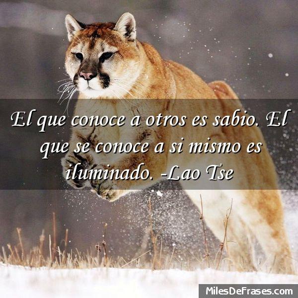 El que conoce a otros es sabio. El que se conoce a si mismo es iluminado. -Lao Tse