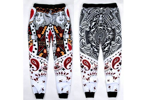 Men Women Fashion Emoji 3D Men's Casual Pants Trousers Red Porker Cashew Flower Trousers