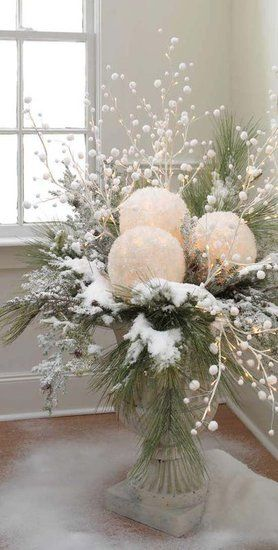 White christmas urn. Take white balloons and white tissue paper. blow up