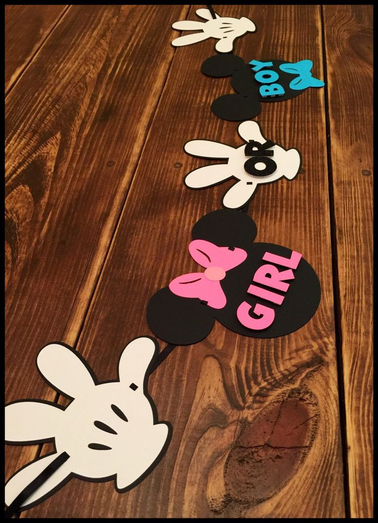 A personal favorite from my Etsy shop https://www.etsy.com/listing/251906426/mickeyminnie-themed-gender-reveal-banner