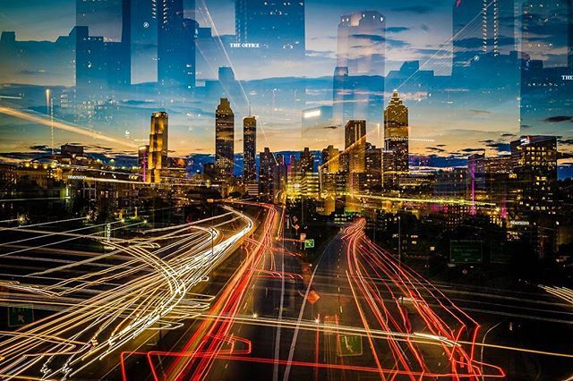 � Atlanta skyline Shot from the Jackson street Bridge, panned and zoomed during a 30 second exposure to get this in camera effect.  #Georgia #Atlanta #lighttrails #jacksonstreetbridge #jacksonstbridge #skyline #cityscape #urbanlandscape #Highway #Photographers #city #buildings #sunset #dusk #atlantasnaps