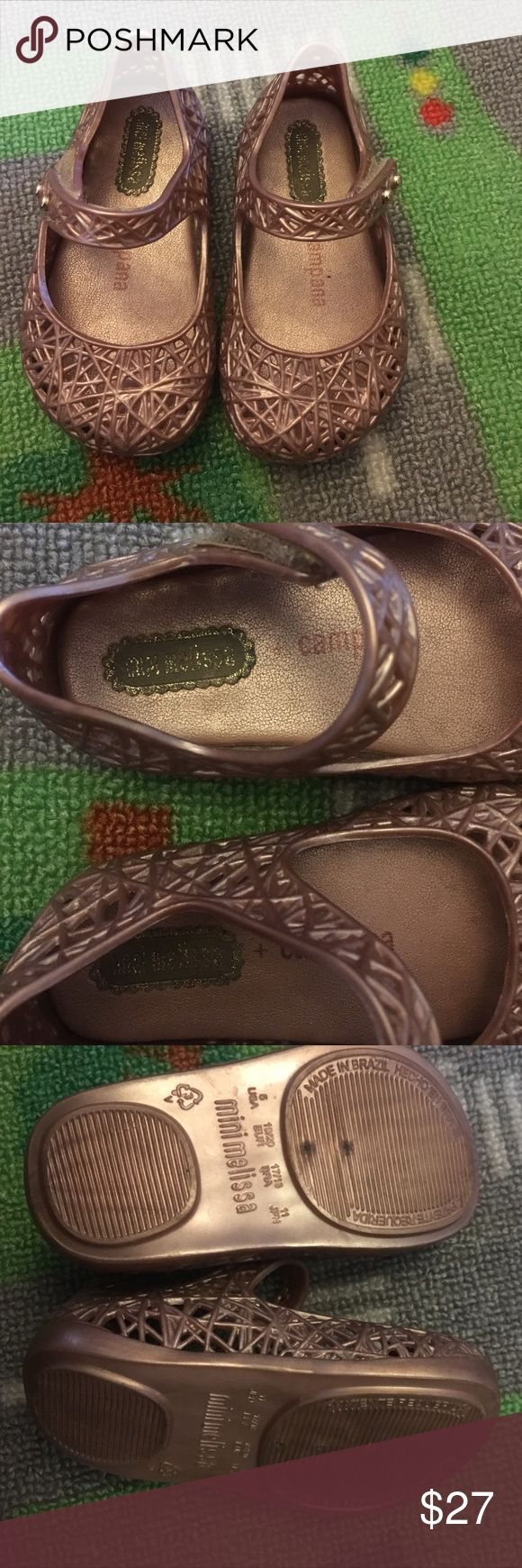 Mine Melissa sandals Purchased these rose gold mini Melissa Campana's over the summer from Nordstrom. I hate to see these go. My daughter did a growth spurt. My loss is your gain! (Stock photo is just to show prices paid) Mini Melissa Shoes Sandals & Flip Flops