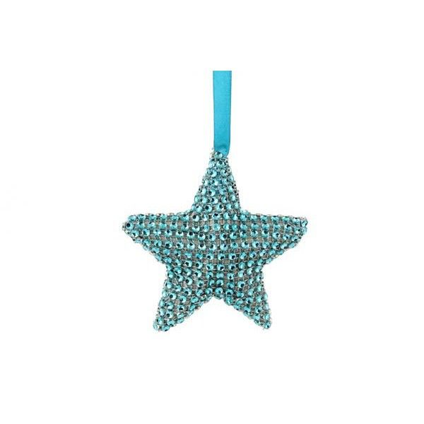 Gorgeous bling bling star, completely covered with artificial stones in teal blue