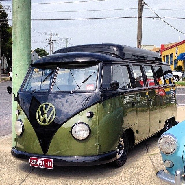 green and black split window VW camper | Volkswagen bus | re-pinned by http://about.me/southfloridah2o