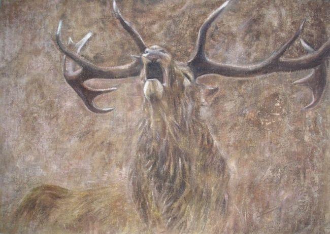 Brame - Média mixtes ©2006 par Charlotte MacLeod -            Le brame du cerf. Technique mixte sur toile de lin. Stag. red deer stalking. hunt. the roaring of the stag